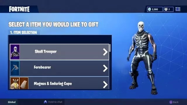 How to gift skins in fortnite