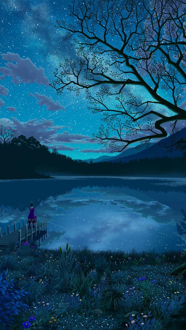 Anime Girl Angle Wallpaper 1366x768 唯美夜色 锁屏图片 高清手机壁纸 风景 回车桌面