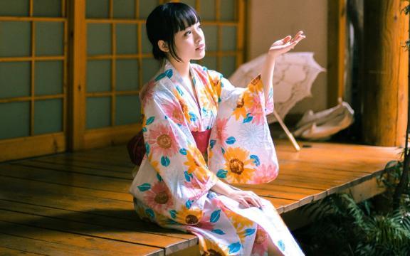 Wallpaper 1680x1050 Girl 日本和服少女恬静安逸写真 高清壁纸图片 大陆美女 回车桌面