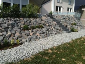 gartengestaltung am hang mit steinen - boisholz, Garten und bauen