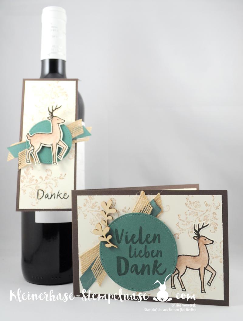 Stampin Up Bernau Berlin Hirsch Flaschenanhänger Danke Zum Dank Weihnachtsschlitten Timeless Textured Stickmuster 7