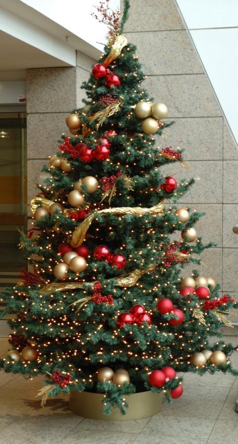 Rot gold geschmuckter weihnachtsbaum  Frohe Weihnachten in Europa