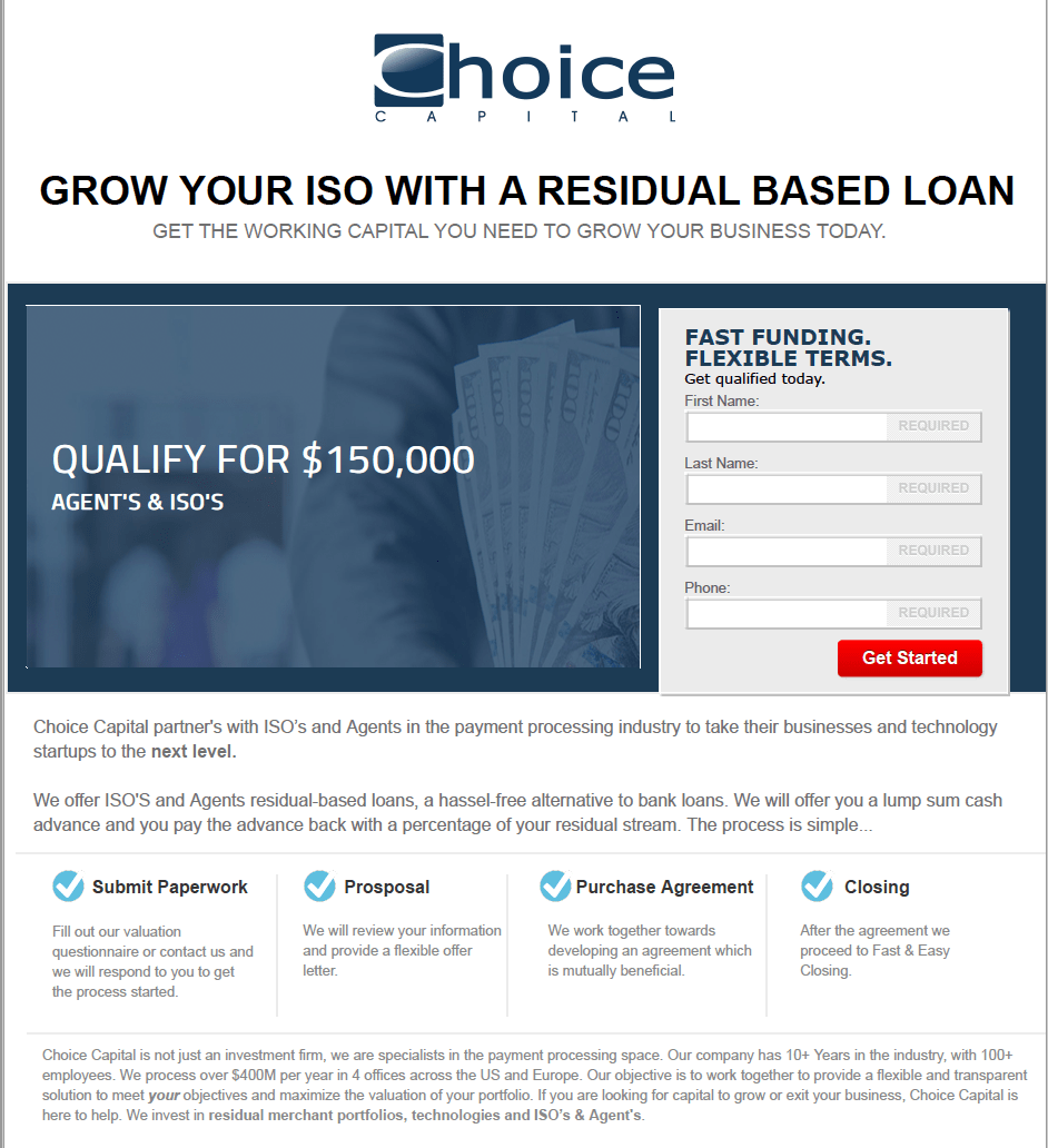 Choice Capital Landing Page