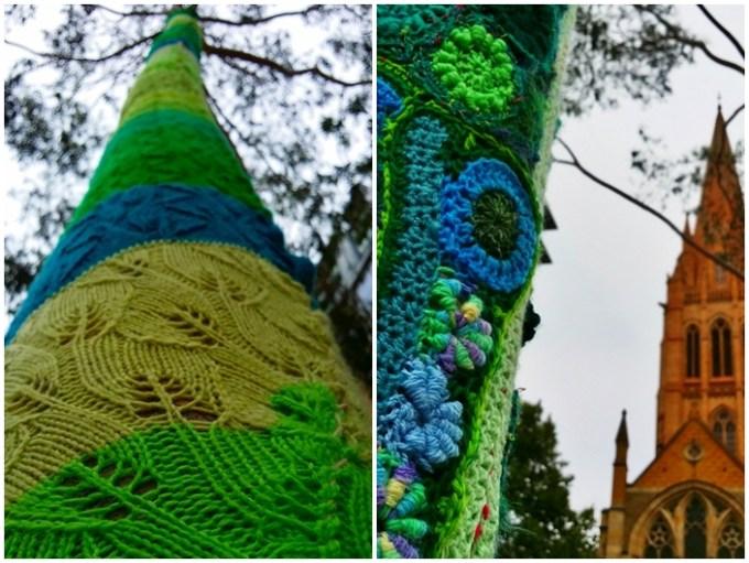 Iniciativa de cobrir de crochet as árvores do centro de Melbourne. Amo!