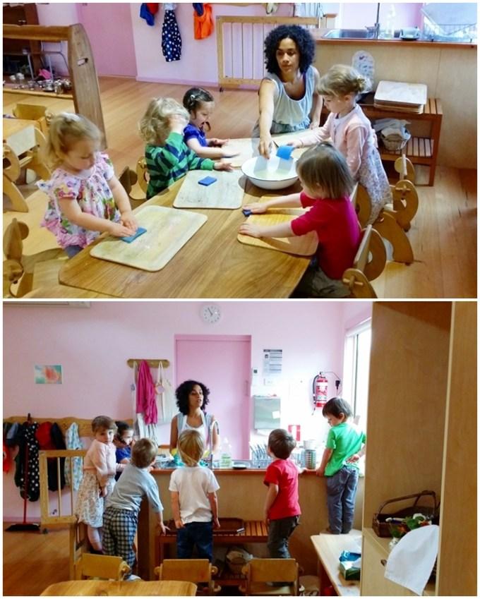 Essa é a minha turma nova de pequeninos. Estou apaixonada por eles! Nessa foto eles estão me ajudando a lavar as tábuas de pintura, e me observando lavar as louças. Estar rodeada por crianças é uma benção.
