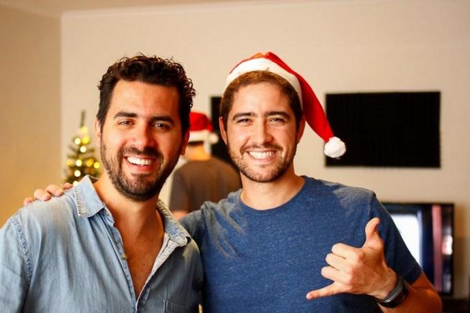 Com o Pedro, na casa da Manu e do Dani, no natal do ano passado.