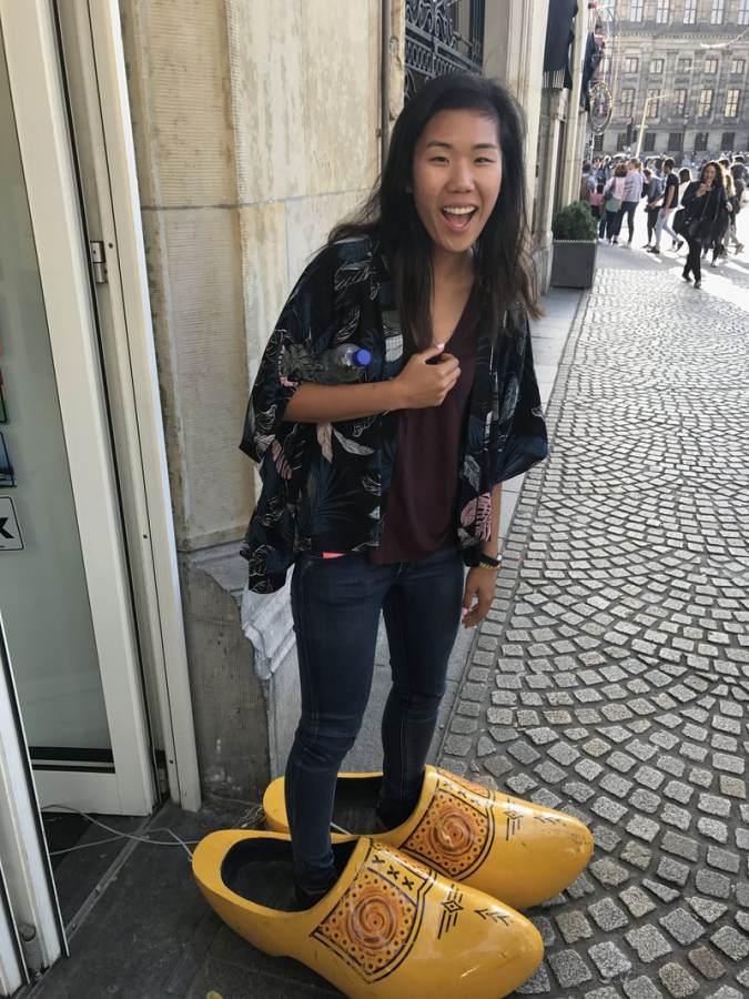 Math teacher Esther Chen in Amsterdam enjoying a vacation.
