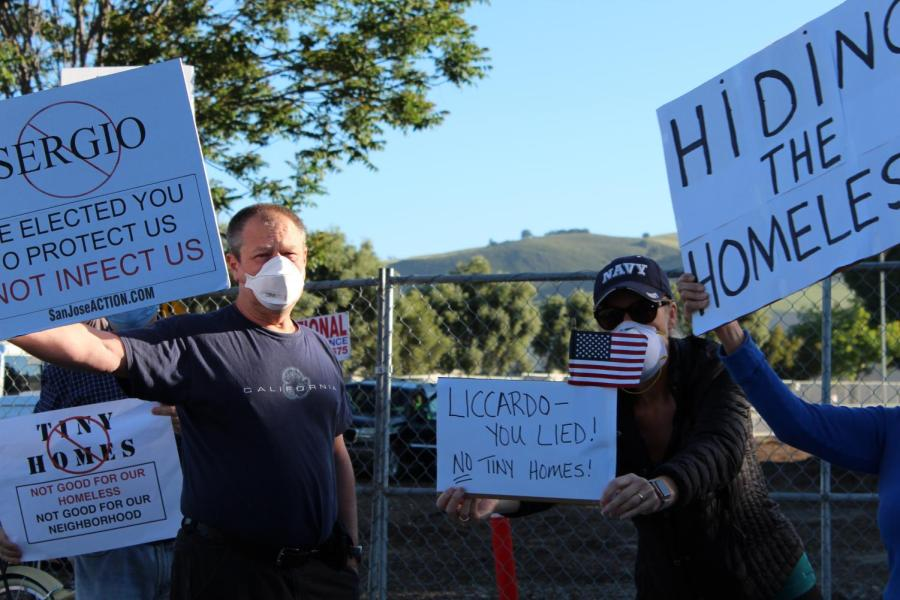 Members of the community express disdain toward Mayor Sam Liccardo and Councilmember of District 2 Sergio Jimenez, protesting the tiny homes at 7 a.m. despite the fact that Jimenez voted against the construction on the Bernal/Monterey lot.
