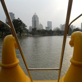 On a pedal boat in Silom Park.