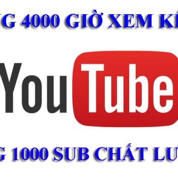 Tăng 4000 giờ xem kênh Youtube