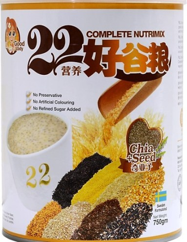 Bột ngũ cốc dinh dưỡng cao cấp 22 dưỡng chất hiệu 22 Complete Nutrimix – Chia Seed (Hạt chia) – hộp thiếc 750g