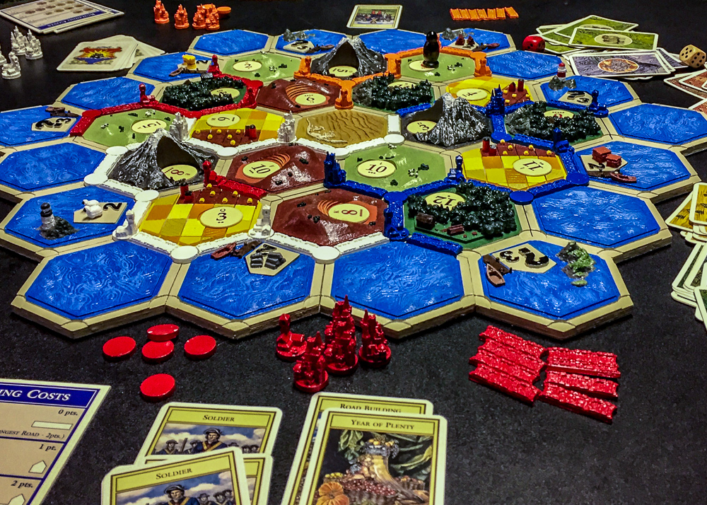 3D-Printed Settlers of Catan game board from above