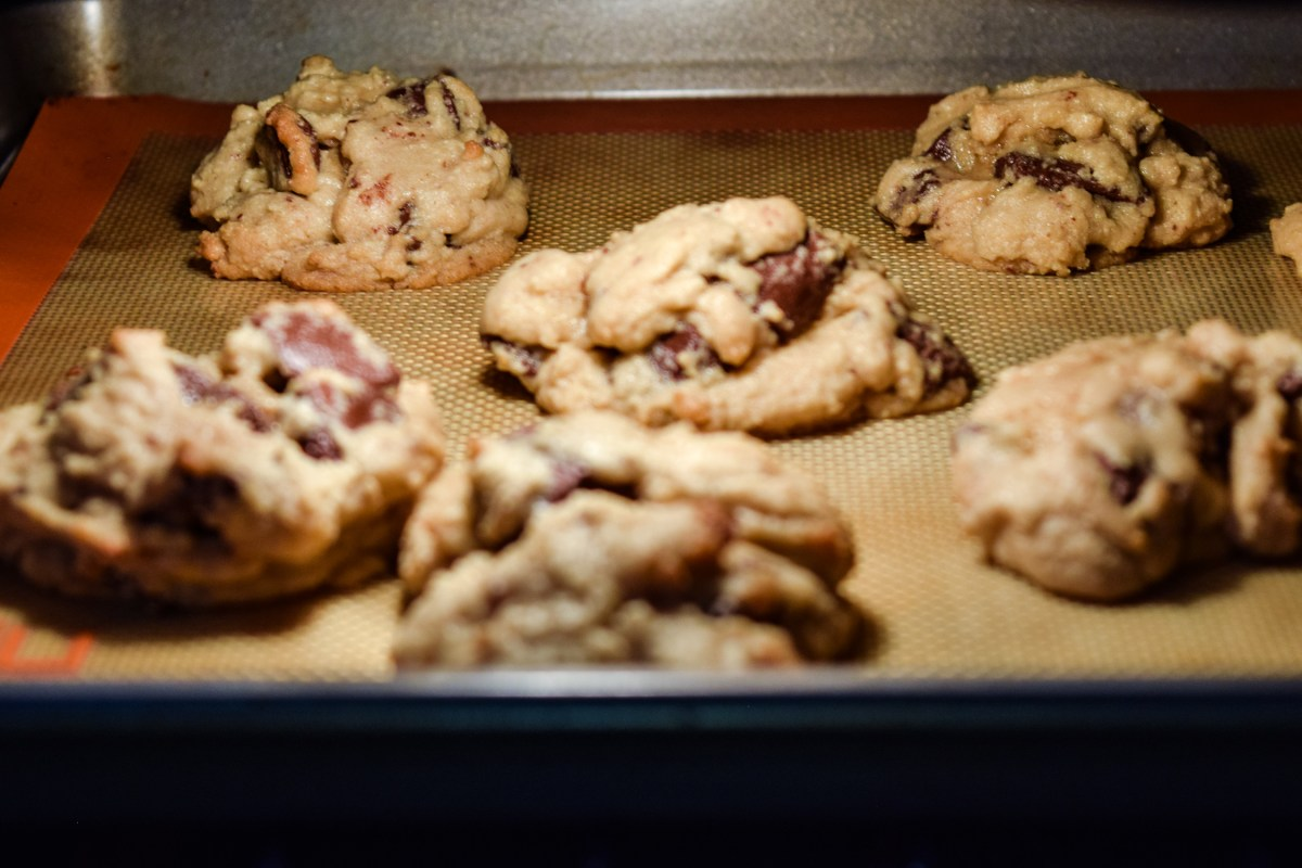 Cookies baking in oven