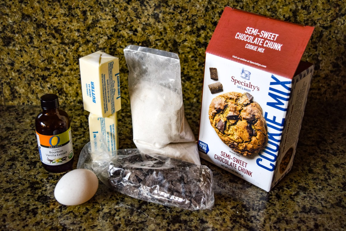 Specialty's Semi-Sweet Chocolate Chunk Cookie ingredients with mix unboxed