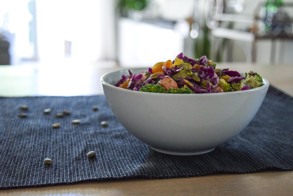 Sunshine Spicy Mustard Tahini Cruciferous Slaw from side at distance