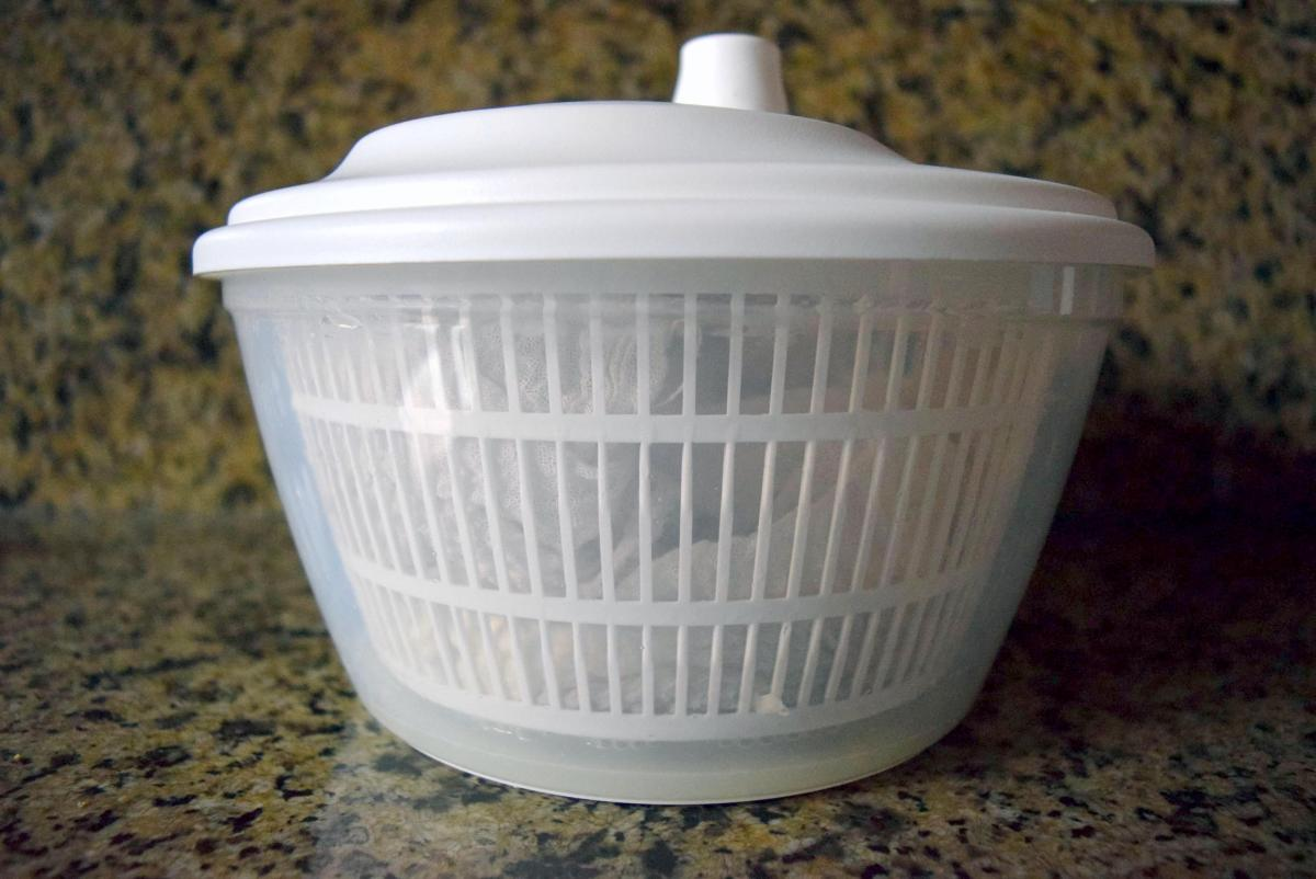 Straining and spinning curds and whey in cheesecloth and IKEA Tokig salad spinner for Homemade Instant Pot Ricotta Cheese
