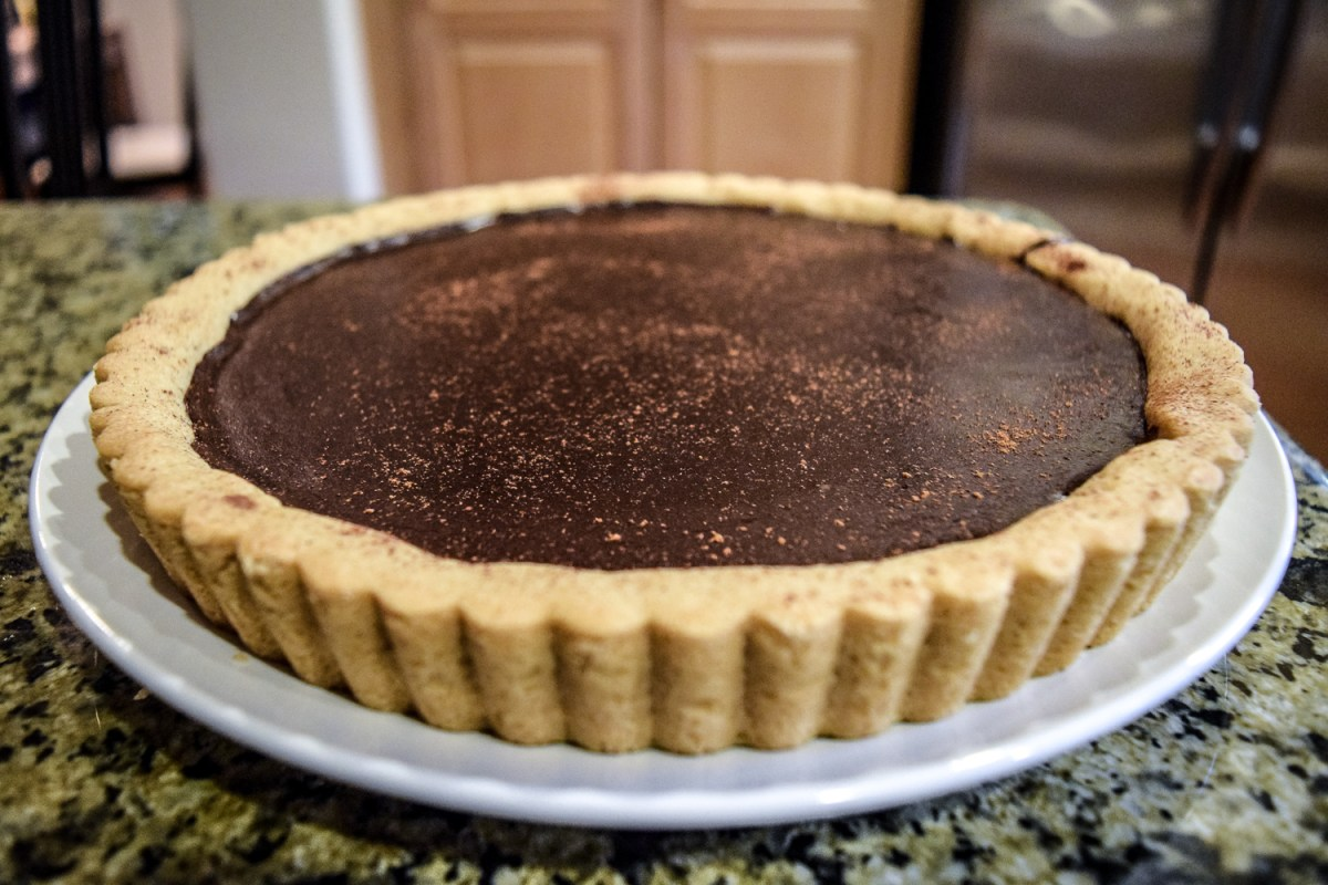 Finished Mexican Chocolate Tart from front angle