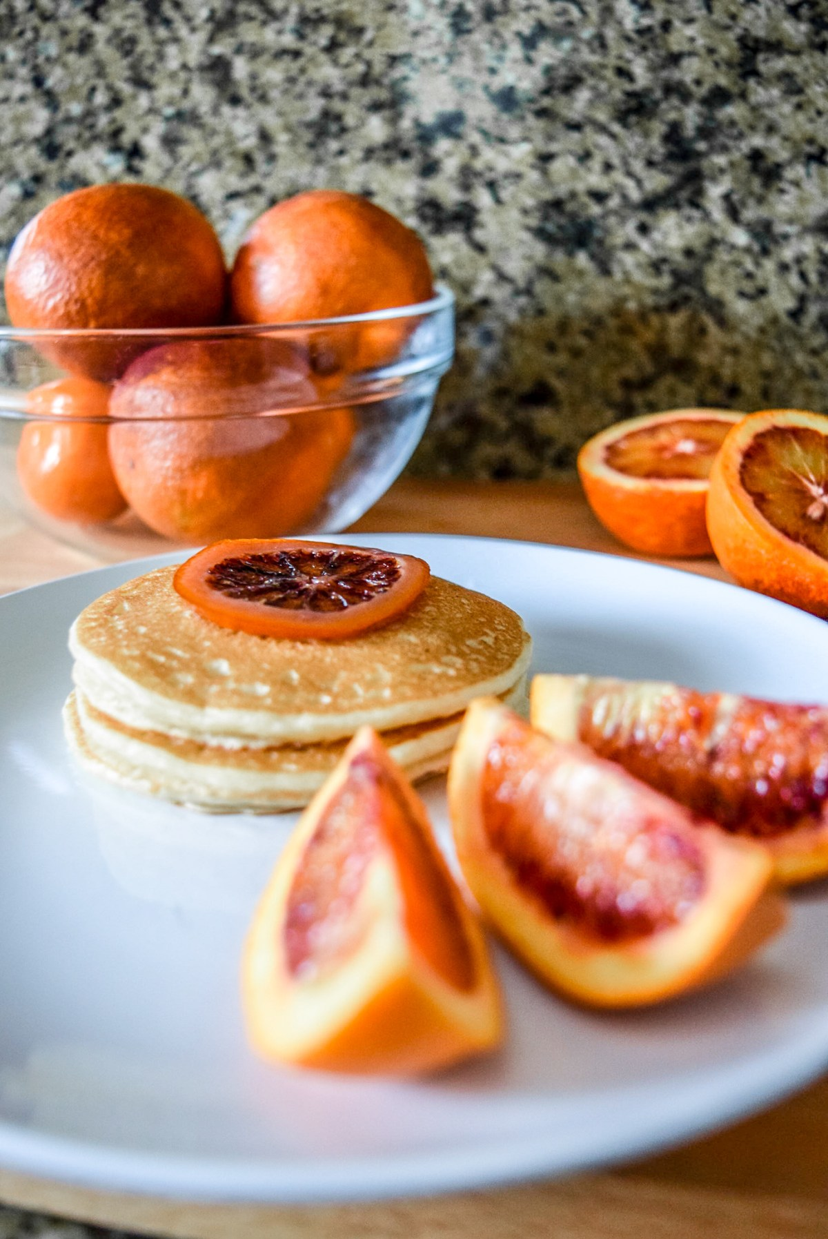 Trader Joe's frozen pancakes with blood orange slices and candied blood orange round garnish from front