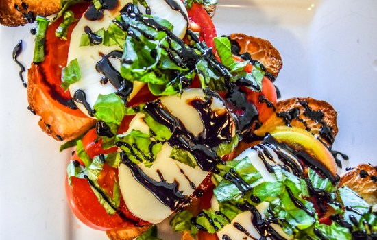 Caprese Bruschetta with Balsamic Reduction