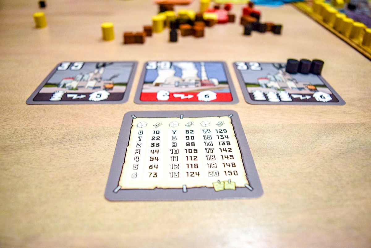 Power plants with summary card for Power Grid Board Game up close