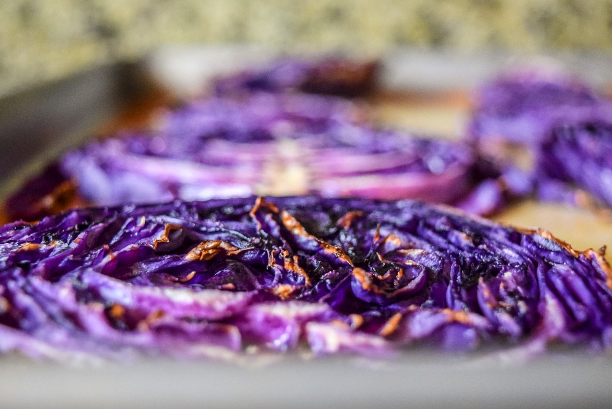 Roasted vegan red cabbage steak up close