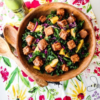 Kale Salad with Peanut Butter Tempeh and Green Goddess Dressing Recipe