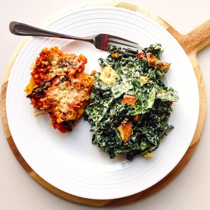 vegan lentil mushroom lasagna