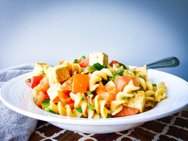 Greek Pasta Salad with Tofu Feta Recipe