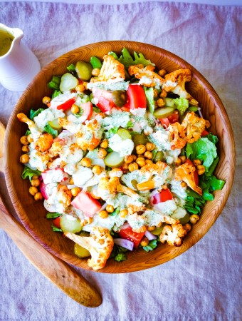 Buffalo Cauliflower Salad with Creamy Tahini Ranch Dressing Recipe