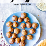 energy balls on a blue plate with recipe title at the top of the image for pinterest