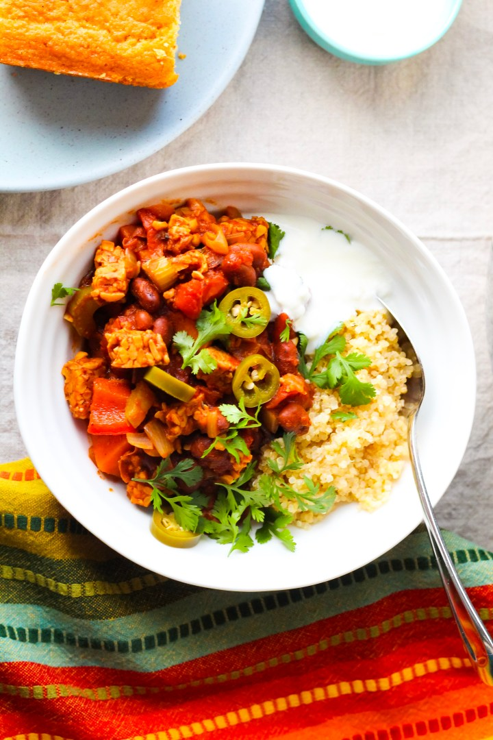 High Protein Vegan Chili with Tempeh