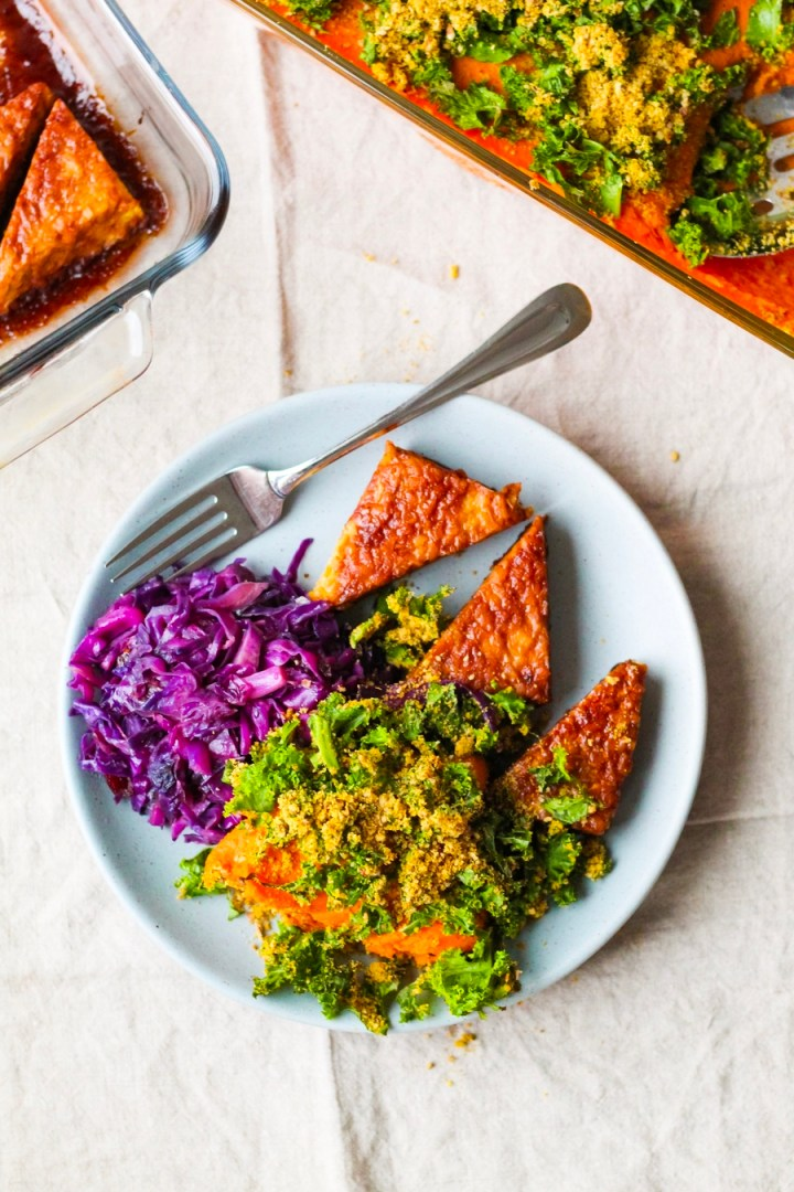 Vegan Sweet Potato Casserole with BBQ Tempeh Steaks and Braised Red Cabbage