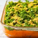 Vegan Sweet Potato Casserole with Pecan Parmesan
