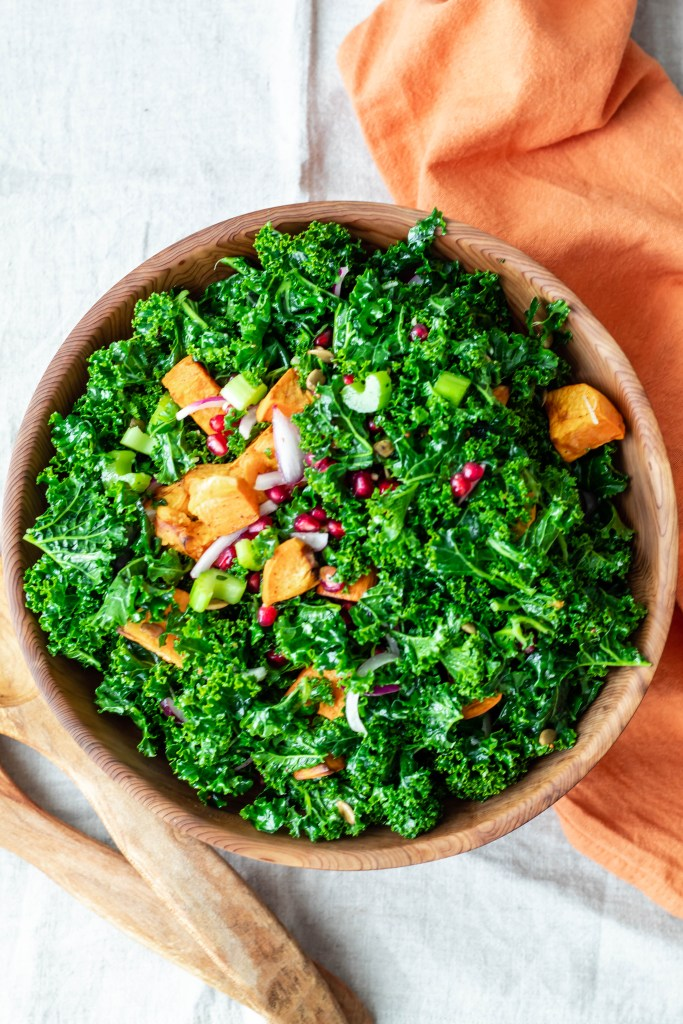 Festive Kale, Pomegranate, Pepita, and Sweet Potato Salad Recipe