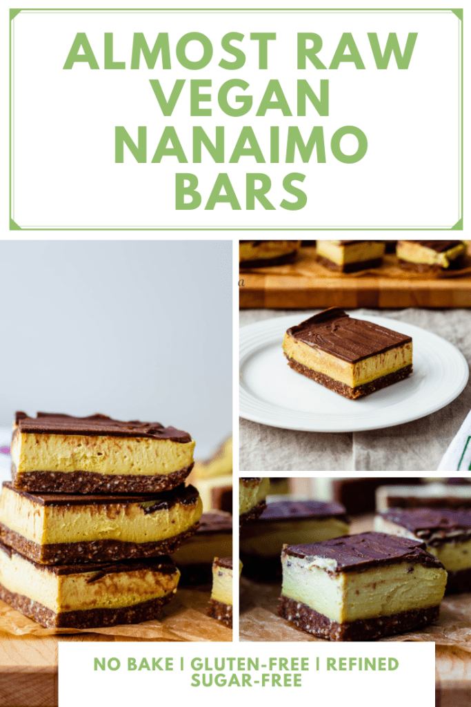 Learn how to make the best vegan Nanaimo bars from scratch. Nuts, dates, and cacao butter form the base of this healthy and indulgent-tasting recipe!