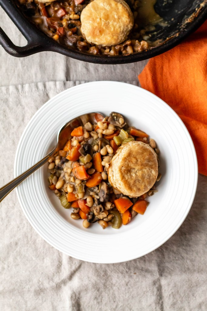 The vegan pot pie served in a white bowl