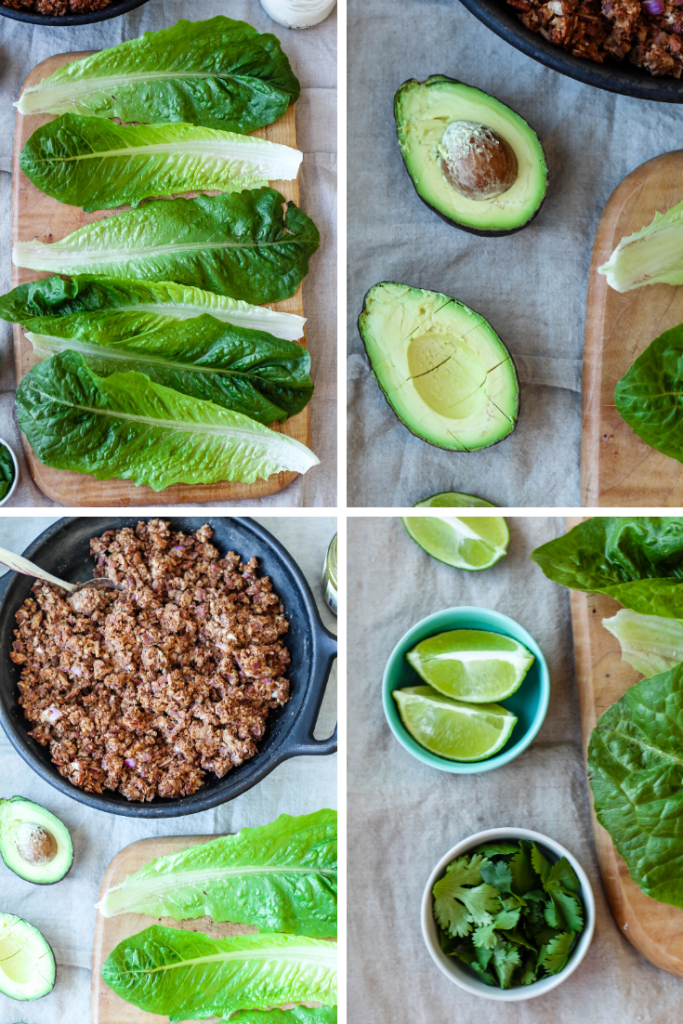 the process of making vegan lettuce tacos, these four photos show first the lettuce leaves, then avocado halves, lime sections, cilantro, and the pinto bean and pecan meat.
