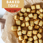 pinterest image with the recipe title and the crispy tofu laid flat on a plate