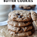 a pinterest graphic with the title of the recipe and a photo of a stack of four of the cookies on parchment paper