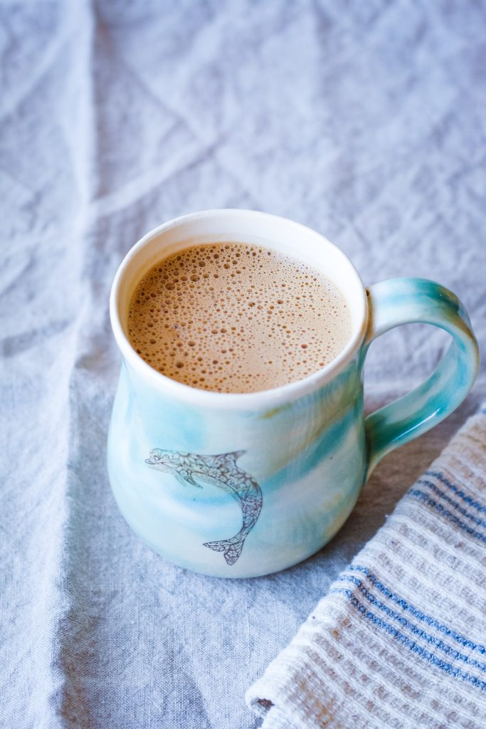 picture of bulletproof mocha in blue mug
