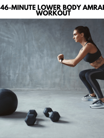 woman doing a squat with weights and medicine ball around her