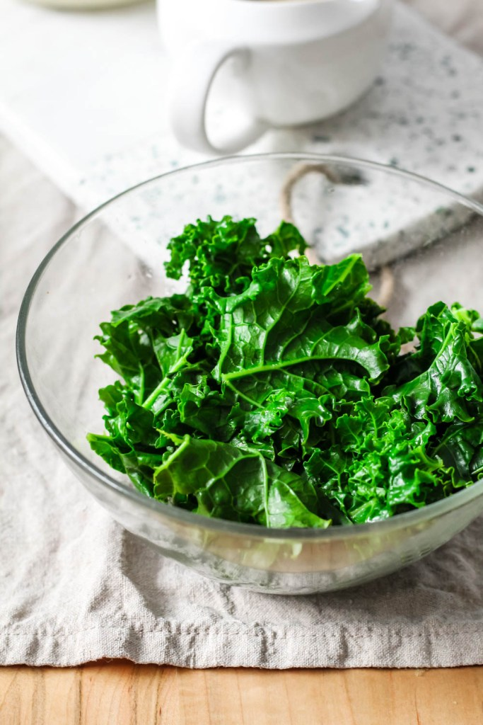steamed kale in a bowl