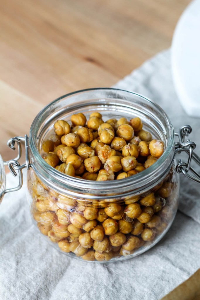 roasted chickpeas in a glass jar