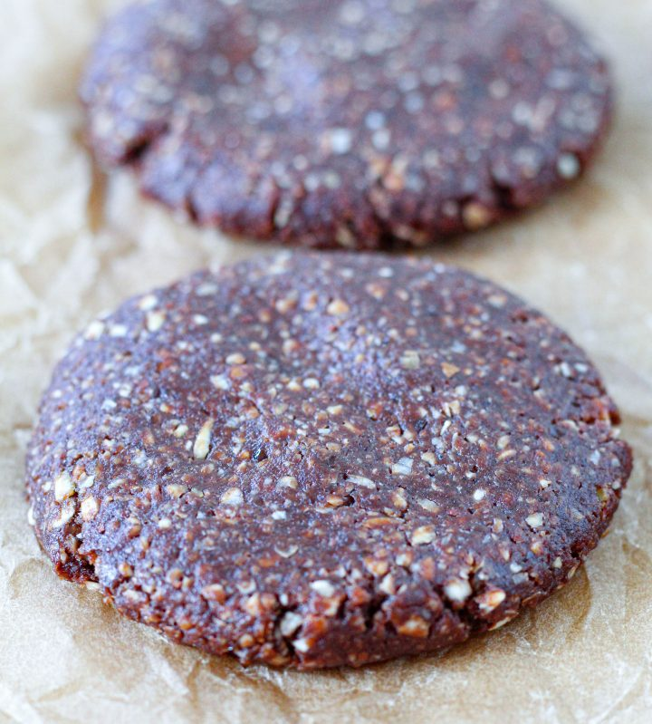 a straight-on shot of a no-bake date almond cookie