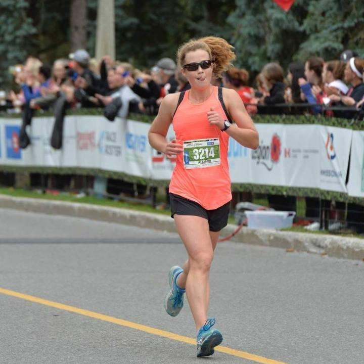 Allison running a half marathon in 2018
