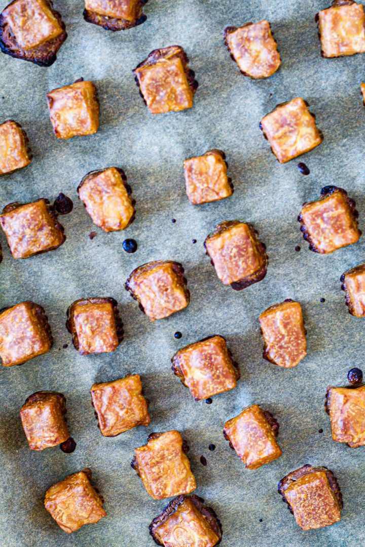 overhead shot of the peanut tempeh fresh out of the oven