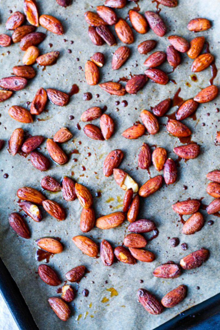 overhead shot of the tamari almonds
