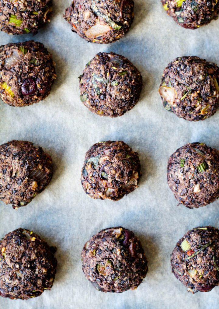 overhead shot of the freshly baked meatballs