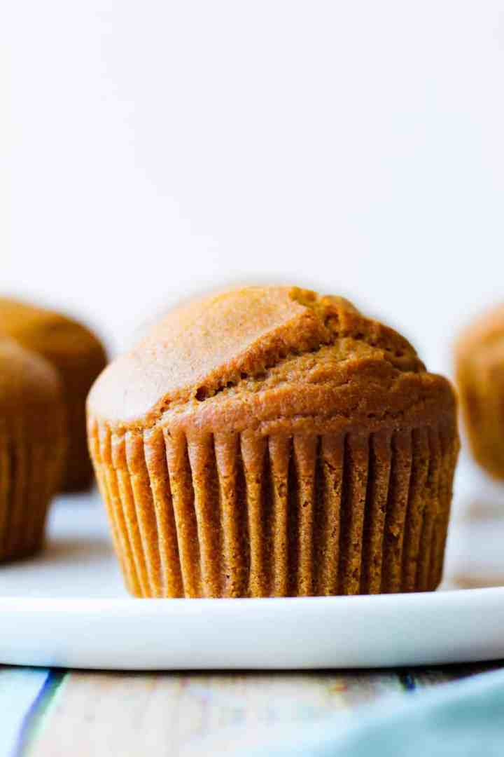 straight on shot of one cupcake on a white plate