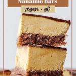 a Pinterest graphic with three Nanaimo bars stacked on top of each other and the recipe title